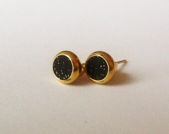 Black with gold speckled small brass circle stud earrings