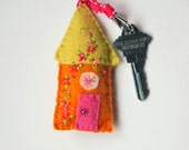 Handmade Wool Felt Key Chain - Key Fob Felt House in Orange, Pink and Yellow with Embroidered Floral and Beaded Embellishments