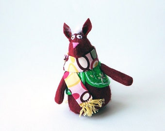 Little Fox Ornament or Door Hanger Made with Maroon Felt and a Felt Vest in green with matching scarf