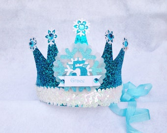 Sparkly Elsa Frozen Birthday Crown Party Hat in Turquoise Aqua and Snowflake White with Sequin Trim