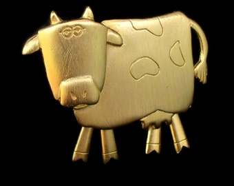 Vintage Cow Collector Pin Brooch Cow Brooch by JJ Bovine Pin