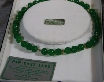 "Vintage ""Far East Jade"" Glass and Gold Fill Bead Necklace"