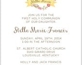 Pink Wreath and Banner Baptism or First Communion Invitation