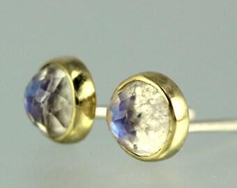Moonstone Studs - Moonstone Posts - Blue Moonstone Earrings - Rose Cut Moonstone Studs - Moonstone 18 KT Gold Studs - 18 KT Gold Posts