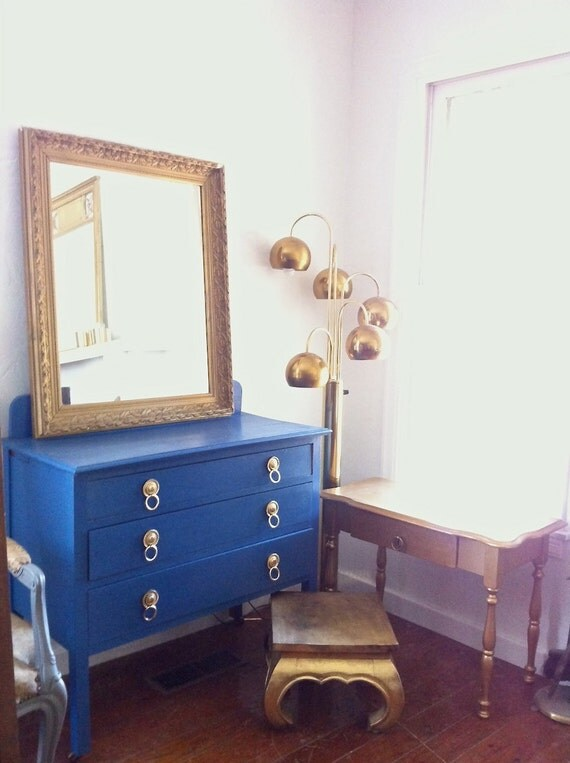 antique 1940s petite buffet sideboard in gloss royal blue. Black Bedroom Furniture Sets. Home Design Ideas