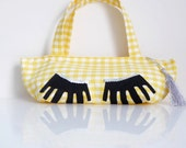 Need More Beauty Sleep - Gingham Zippered Pouch - Double Handles - OOAK - Handmade in USA