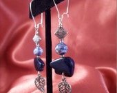 Native American Inspired Onyx Stone Bear and Sodalite Dangle Earrings