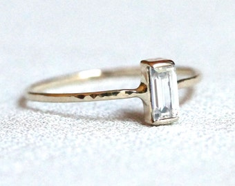 Delicate 14k Gold Step Cut Baguette Cubic Zirconia Stack Ring - Solid 14k  Rose or White or Yellow Gold Stacking Ring with Step Cut Stone