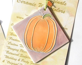 PUMPKIN ORNAMENT Celebrate harvest autumn fall and your favorite gardener's bounty with this gift handmade by Faith Ann Originals orange