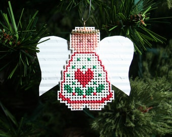 Angel Christmas Tree Ornament - Angel Juliana - Cross Stitched Holiday Ornament - Free U.S. Shipping