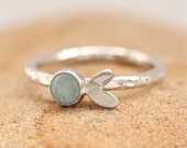 Silver Stacking Ring - Aqua Chalcedony Silver Stacking Ring - sterling silver ring with faceted aqua blue gemstone