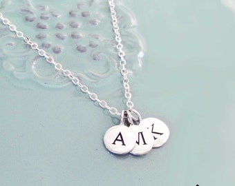 Tiny Sterling Silver or Gold Custom Initials Necklace- 3 Little Pieces of You- Gold and Silver Initials, children, husband