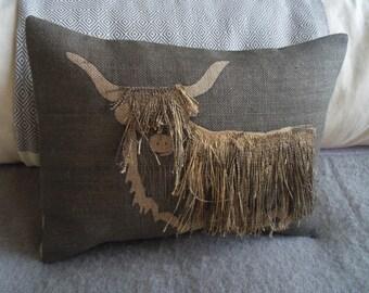 hand made and appliquéd textured shaggy highland cow cushion
