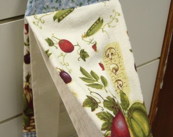 Vegetable Hanging Hand Towel with Blue floral Buttoned Cotton Top