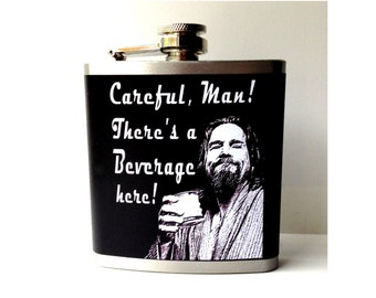 Gift for Lebowski Fan, The Dude Abides, Groomsmen Gift, Custom Flask, Movie Fan Gift, Personalized Flask, Gift for Brother, Mother's Day
