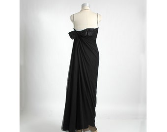HELENA BARBIERI Late 1950's Early 1960's Black Silk Chiffon Column Evening Dress Gown 50's 60's Designer Couture