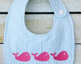 Seersucker whales Bib, embroidered bib, whales trio bib, whales nursery theme