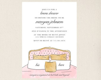 Linens Bridal Shower Invitations