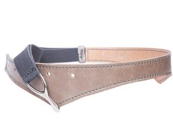 Gray Elastic Leather Belt / Women Wide Fashion Belt / Waist Belt / Elegant Designer Belt