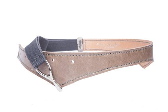 gray elastic leather belt wide fashion belt waist