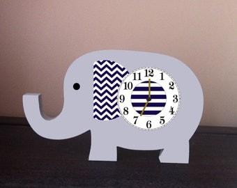 Elephant clock gray and navy stripes and navy chevron, Elephant nursery clock, Kids room clock