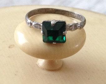 Green Rhinestone Ring Kiddiegem Sterling Size 5