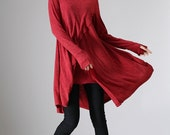 Womens tunic, tunic tops, asymmetric tunic, tunic dress, red dress, long sleeve tunic, custom dress, fall clothing, layered dress  (969)