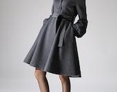 Hooded Swing Coat - Winter Wool Gray Women A-Line Shape Midi Length Coat with Lantern Sleeves  (1073)