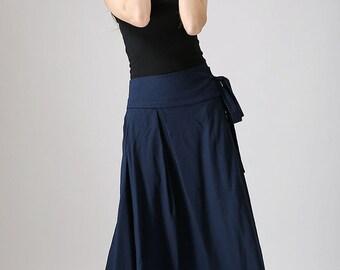 wrap skirt, blue skirt, linen skirt, maxi skirt, womens skirts, swing skirt, retro skirt, fall skirt, handmade skirt, custom skirt (874)