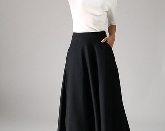 black skirt,wool skirt,A line skirt, long skirt, womens skirts, winter skirt, pleated skirt, circle skirt,pocket skirt, plus size skirt 1088