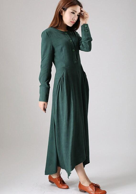 Maxi linen dress, casual dresses, Shirt dress, womens dresses, long sleeve dress, Green dress,  long linen dress, Custom dress, Gift 505