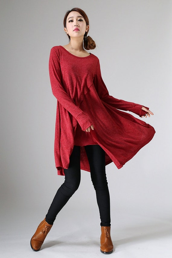 Tunic Dress tunic topwomen tunic tops red tunicRed Dress