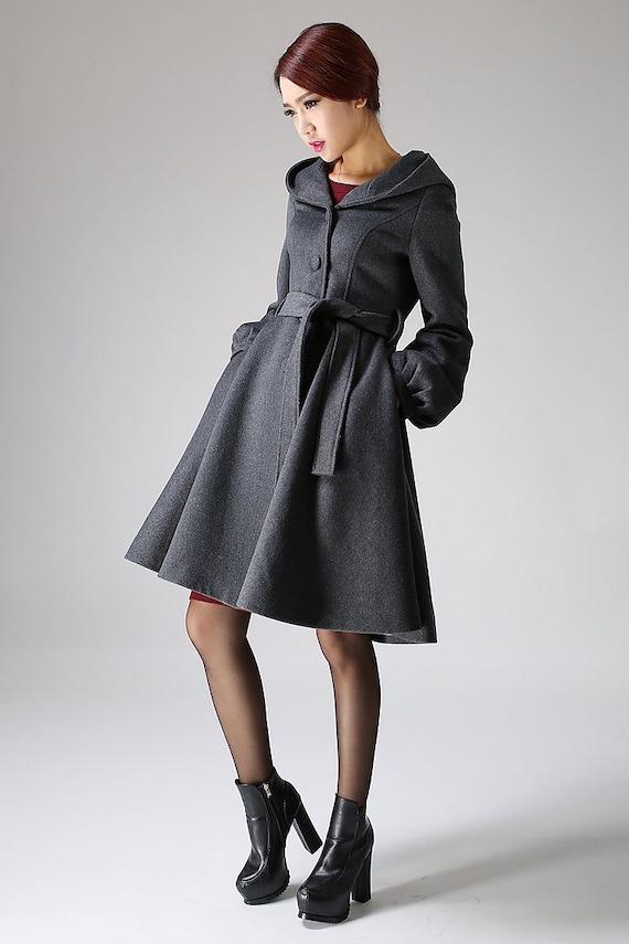 hooded coat swing coat winter wool coat gray coat A-Line