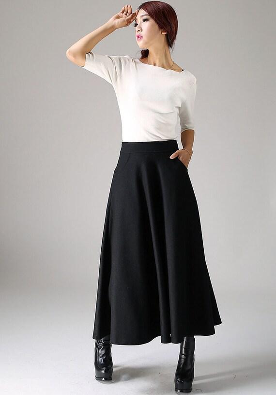 black skirtwool skirta line skirt skirt womens