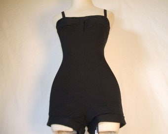 Roxanne Perfection Fit Black Maillot Swimsuit Bathing Suit Playsuit Old Hollywood Bombshell Pin Up
