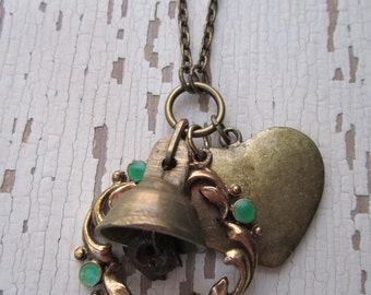 Vintage Metal Cluster - Upcycled Charms and Chain Necklace - Antique Bell, Heart and Shiny Gold \Frame with Green Enamel