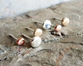 Tiny Pebble Earring Set - Rustic Studs in Solid 14k Gold, Sterling Silver, and Copper - 3 Pairs - Choose Your Size - 3mm, 4mm, or 5mm