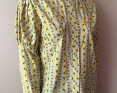 Vintage Women's 70's Blouse, Yellow, Floral, Long Sleeve, Prairie (L)