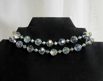 AB Glass Necklace Faceted Bead Choker Double Strand Vintage 50s Costume Jewelry