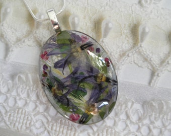 Blue Shooting Star Blossoms,Alyssum,Queen Anne's Lace Pressed Flower Oval Glass Pendant-Symbolizes Loyalty,Peace-Make  Wish-Gifts 30 & Under