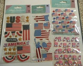 VINTAGE USA, AMERICA Jolee's Boutique Scrapbooking supplies stickers - Red White and Blue