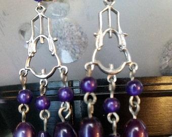 VIntage Blue Purple Silver Mystery Metal Candelabra Pierced Wire Costume Jewelry Earrings Dangle BeadedFashion Accessory