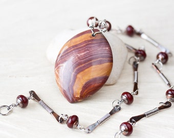 Large Earthy Wonderstone Pendant Necklace, mixed metal necklace with natural stone and lampwork, handmade copper and sterling silver chain