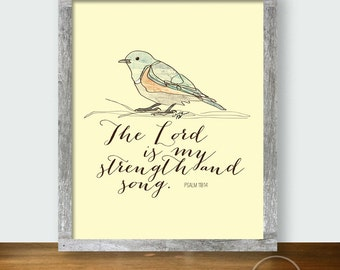 Bluebird Strength and Song - Christian Psalm Printable