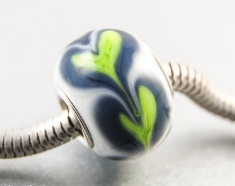 Big Hole Charm Bead Seattle Football Fans, Handmade Lampwork, Sports Team Inspired Jewelry