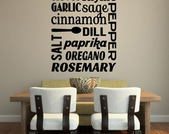 Kitchen Vinyl Wall DECAL, Kitchen Spices Subway Art Wall Decal