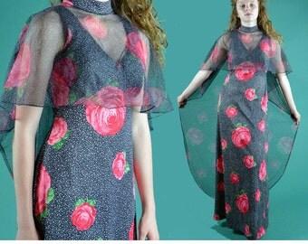 Vintage 60s Maxi Dress Sheer BOHEMIAN Empire Waist Evening Dress Floral Long Maxi Dress 1960s Boho Hostess Dress / Sheer Caplet Overlay S M