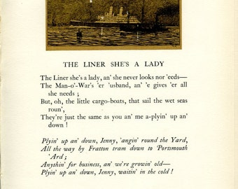 2 illustrated Vintage Pages, The Liner She's a Lady, 1927, Donald Maxwell, Rudyard Kipling, Songs of the Sea, Home Decor, for Framing