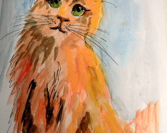 Cat Art . Marmalade Cat. Unique art by Ros Webb