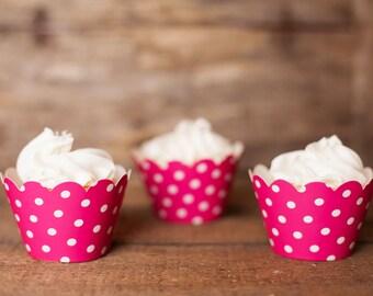 12 Cupcake Wrappers - Hot Pink Cupcake Decorations - Paper Cupcake Wrappers - Cupcake Supplies - Cupcake Party - Cupcake Wrap